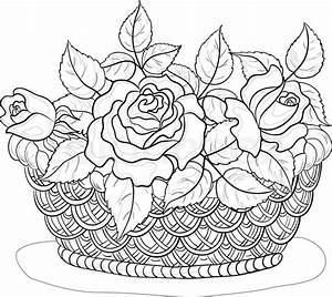 Vektor, wattled Korb mit Blumen Rosen und Blätter ...