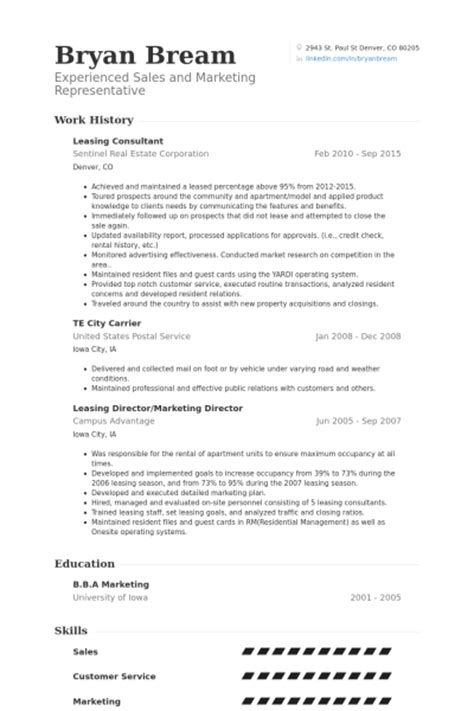 resume templates for leasing consultant leasing consultant resume sles visualcv resume sles database