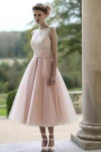 tea length bridesmaid dresses blushing pink tulle illusion informal tea length wedding dress instyledress co uk