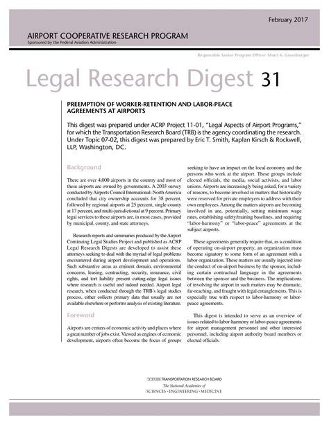 legal research digest  preemption  worker retention