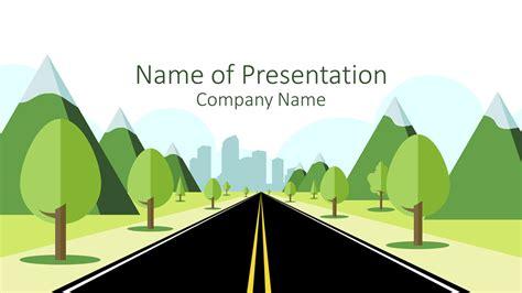 road  city powerpoint template presentationdeckcom