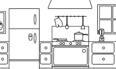 coloring page parts   house kitchen  print