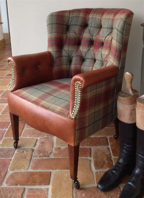 tub chair leather tartan antique the flying fox