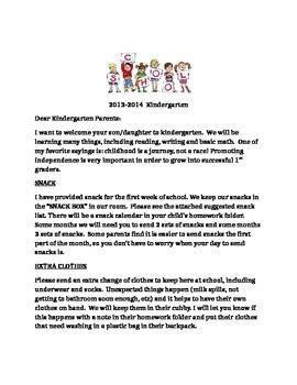 beginning of year kindergarten parent letter by erin jones 298 | original 1917967 1