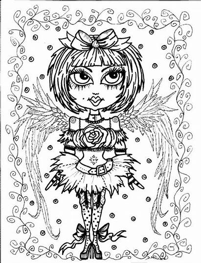 Coloring Gothic Pages Angels Angel Instant Goth