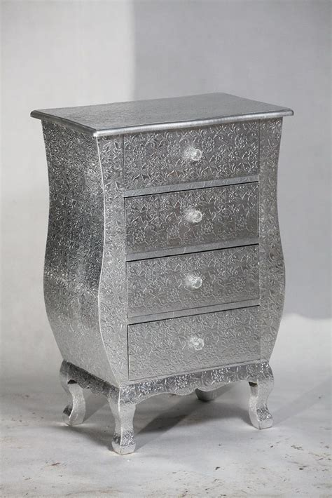 silver embossed metal 4 drawer bedside table cabinets