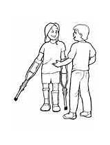 Coloring Disabilities Pages Special Needs Crutches sketch template