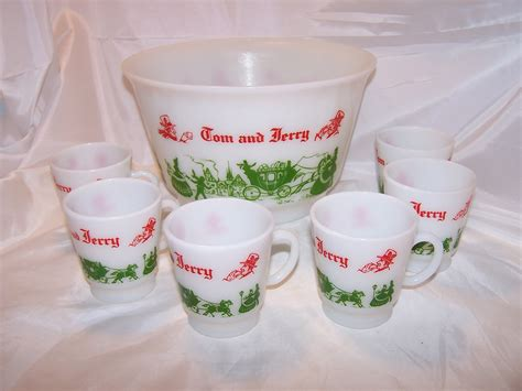 jerry tom bowl punch mugs hazel atlas milk glass box