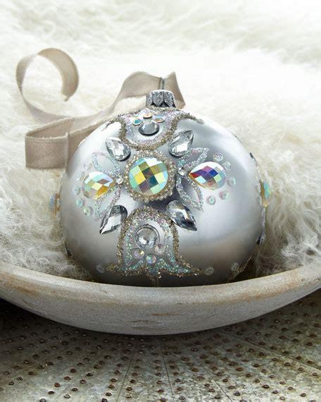 silver metallic beaded glass ball christmas ornament
