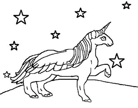 sta e colora unicorno disegno di unicorno guardando le stelle da colorare