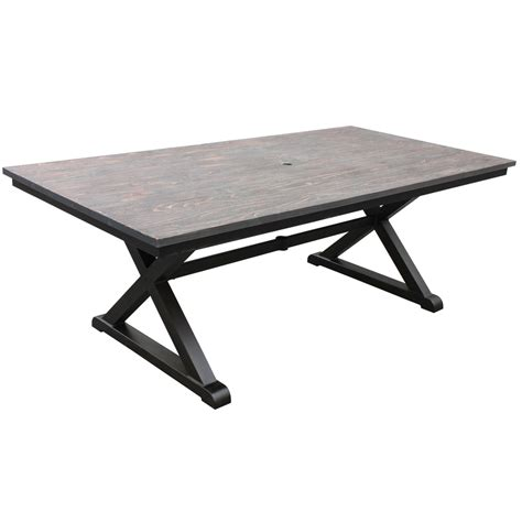 rectangular patio dining table shop allen roth woodcroft 6 ft 8 in x 40 in extruded