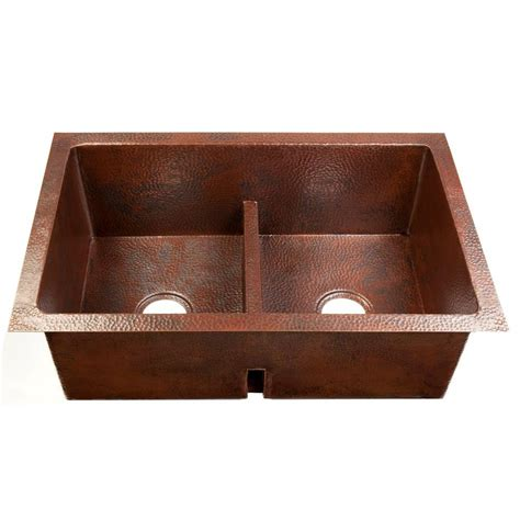copper undermount kitchen sinks sinkology degas low divide undermount handmade solid 5807