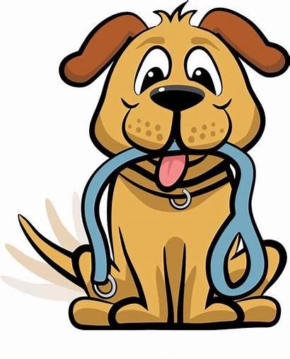 Dog Clipart Walk Cartoon Vector Waiting Leash