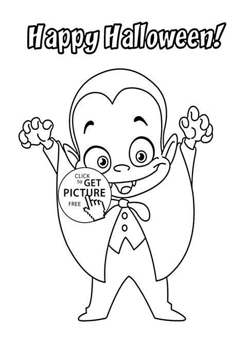 Halloween Little funny vampire coloring page for kids