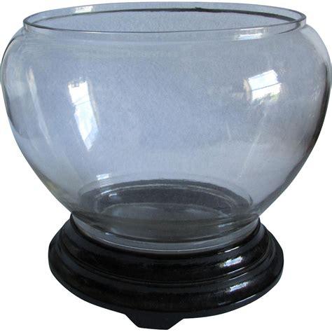 c1920s deco glass fish bowl aquarium black