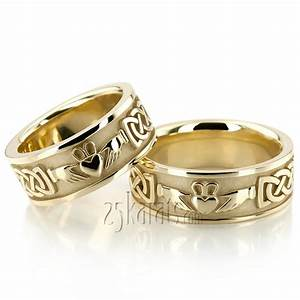hh hc100329 14k gold claddagh celtic knot wedding ring set With celtic knot wedding ring sets