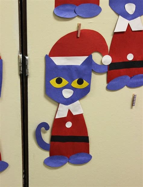pete  cat saves christmas craft template teach junkie