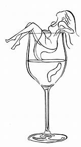 Wine Drawing Glass Painting Drawings Drink Patterns Tattoo Stained Coloring Woman Pages Cocktail Know Cat Pattern Printables Stencil Great Bathing sketch template