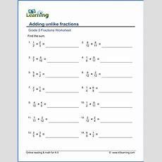 Grade 5 Math Worksheet  Fractions Adding Unlike Fractions  K5 Learning