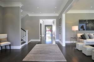 Gray walls with dark wood floors google search family for White baseboards with wood floors