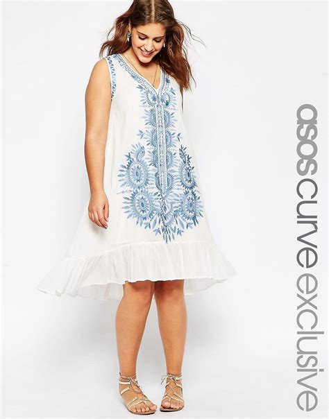 asos curve swing dress asos curve asos curve v neck swing dress with embroidery
