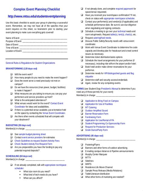 event planning checklist examples   google