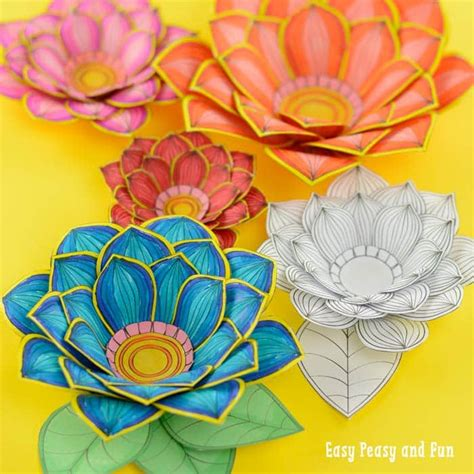 paper craft flowers  coloring pages easy peasy  fun