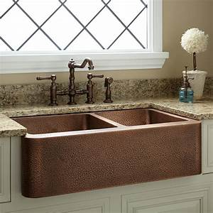 33, U0026quot, Hammered, Copper, 60, 40, Offset, Double-bowl, Farmhouse, Sink, -, Small, Bowl, Right