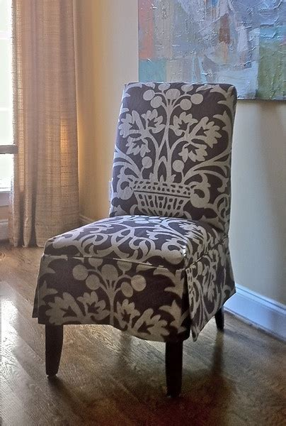 slipcovered parsons chair  vervain plum fabric