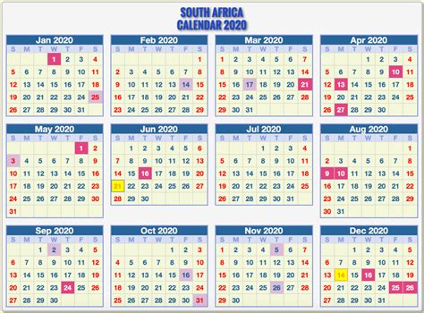 south african calendar  template printable template