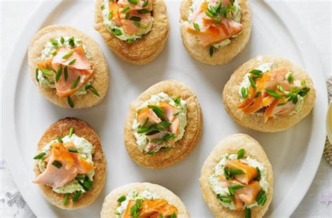 simple canapes 50 and easy canapes smoked salmon and pea vol au