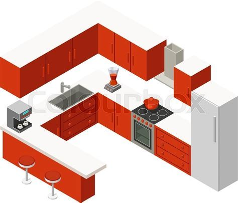 Vector isometric kitchen with red furniture   Stock Vector