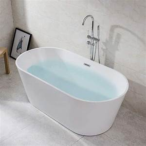 55, inch, freestanding, tub, , cupc, certificated, , small, free, standing, acrylic, bathtub, with, overflow