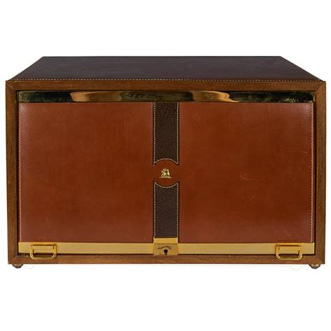 Mark Cross Men's Jewelry Box in Leather and Brass For Sale