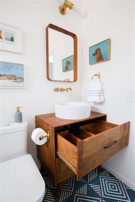 Mid Century Modern Bathroom Colors by Guest Bathroom Reveal Shop The Look Bath And Laundry