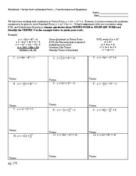 Converting Quadratic Functions From Vertex Form To Standard Form Worksheet  Kidz Activities