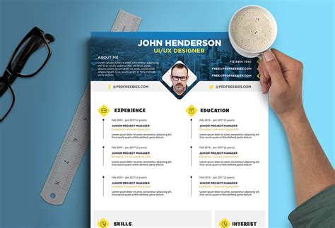 Ui Design Resume Psd by Free Creative Resume Cv Design Template For Ui Ux Designer Psd File Resume