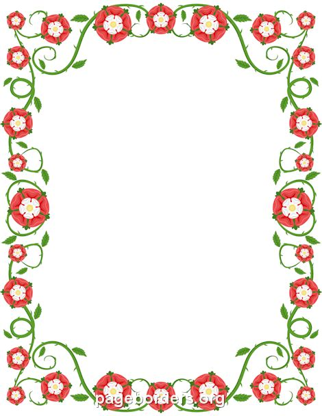Tudor Rose Border Clip Art, Page Border, And Vector Graphics