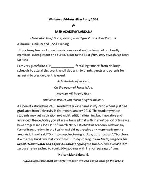 Welcome address iftar party at Zah academy Larkana