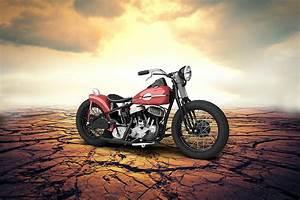 Harley Davidson Wla Bobber 1945 - Desert Digital Art by