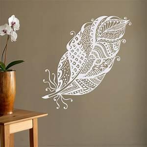 Boho feathers wall decal feather wall decor bohemian bedroom for Boho wall decor