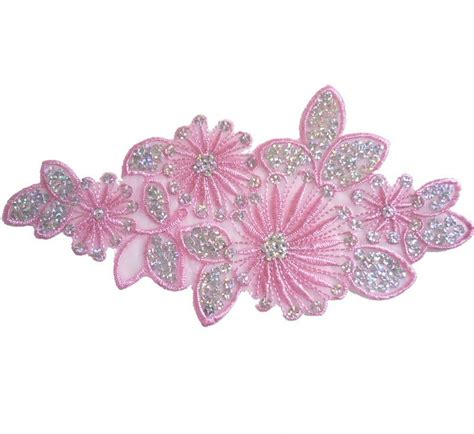 flower applique i219 iron on pink silver sequin applique flower leaf x1 ebay