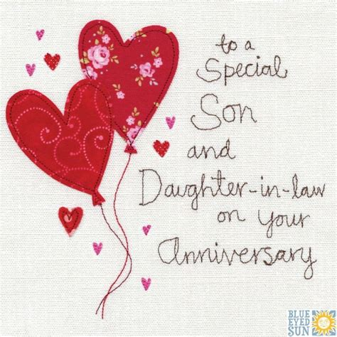 son  daughter  law anniversary card happy anniversary happy anniversary wishes happy