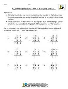 digit subtraction 3 digit subtraction worksheets