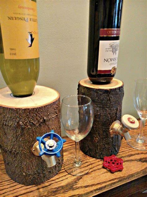 rustic log wine liquor dispensers  green head