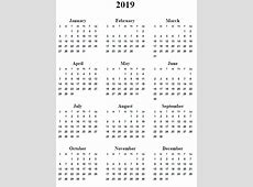 Yearly Calendar 2019 calendar template excel