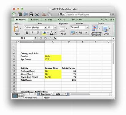 Apft Excel Army Fitness Calculator Test Physical