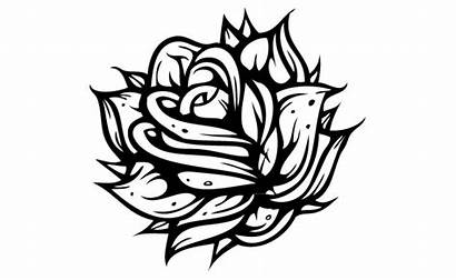 Flowers Coloring Pages Adult Gothic Vector Rose