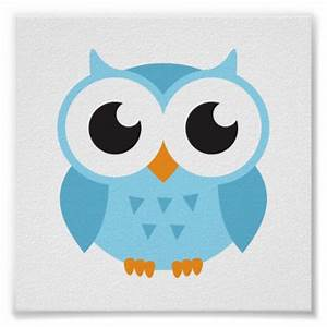 Cute blue cartoon baby owl poster Zazzle