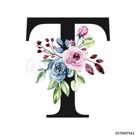 floral alphabet letter   watercolor flowers  leaves monogram initials perfectly